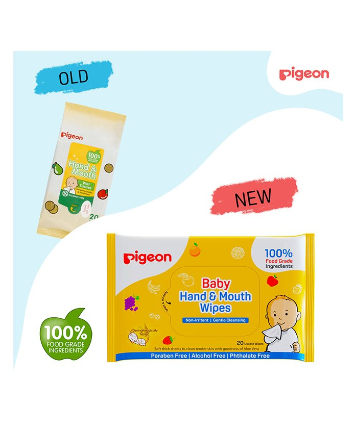 Pigeon Hand and Mouth Wipes - Pack Of 2