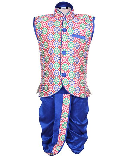 Babyhug Sleeveless Jacket And Dhoti Set Embroidered - Blue