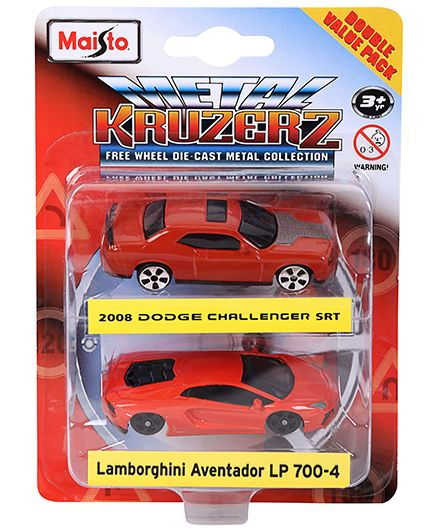 Maisto Die Cast Dodge Challenger SRT And Lamborghini Aventador Cars Pack of 2 - Red
