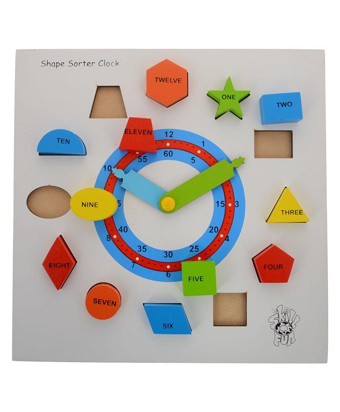 Skilloffun Wooden Shapes Sorter Clock - Multicolour