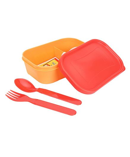 Pratap Plastic Lunch Box With Spoon And Fork - Red And Yellow