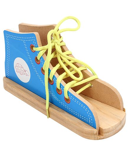 Little Genius Wooden Lacing Shoe - Blue And Yellow