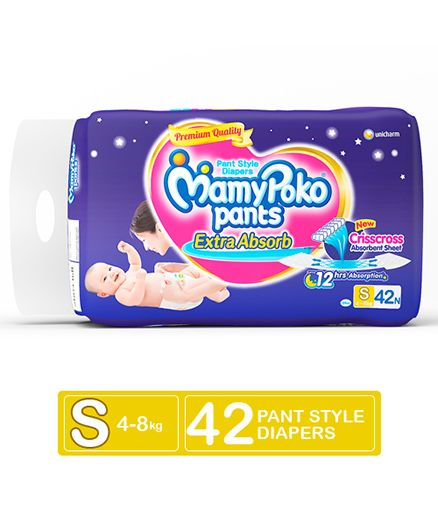 Mamy Poko Extra Absorb Baby Diapers, S 42 Pieces
