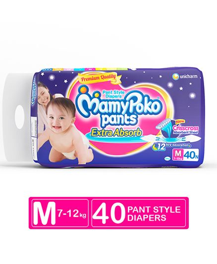 Mamy Poko Pants Extra Absorb Baby Diapers, M 40 Pieces