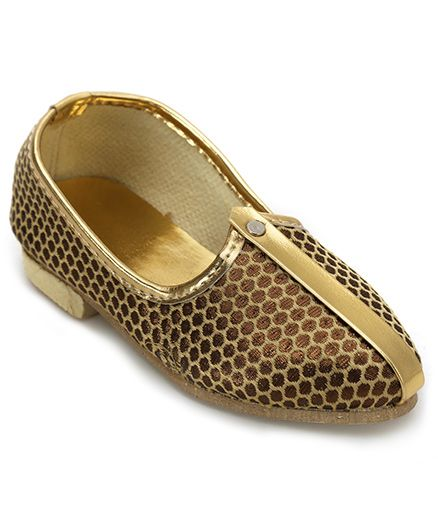 Ethniks Neu Ron Mojari Shoes Dotted Design - Copper Golden