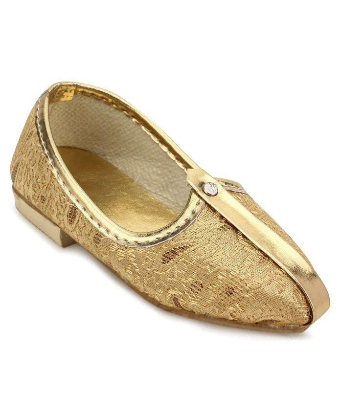 Ethniks Neu Ron Traditional Mojari Shoes - Golden