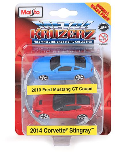 Maisto Die Cast 2010 Ford Mustang GT Coupe & 2014 Corvette Stingray Cars Pack of 2 Blue & Red