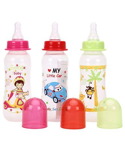 Mee Mee Premium Feeding Bottle Pack Of 3 Pink Red Green - 250 Ml