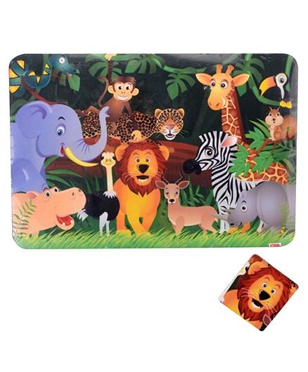 Kidoz Animal Print Mat And Coaster - Multicolour