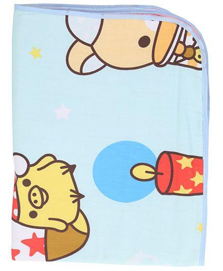 Diaper Changing Baby Mat Teddy Bear Print - Aqua Blue
