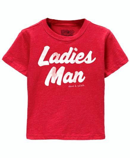 Toddler Tee Caption Print Ladies Man - Vintage Red