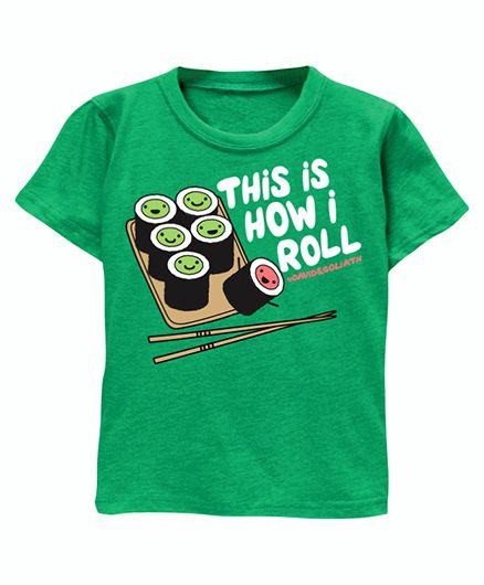 Toddler Tee Caption Print This Is How I Roll - Vintage Green