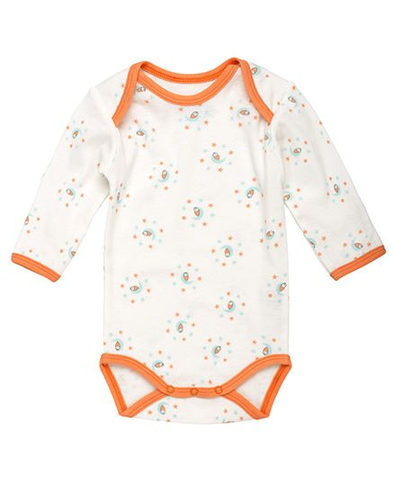 Under The Nile Long Sleeves Babybody Moon Print - White And Sky Blue