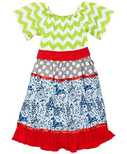 Little Miss Fairytale Floral Chevron Dress - Lime And Blue