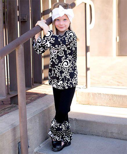 Little Miss Fairytale Flourish Top And Ruffle Pant - Black