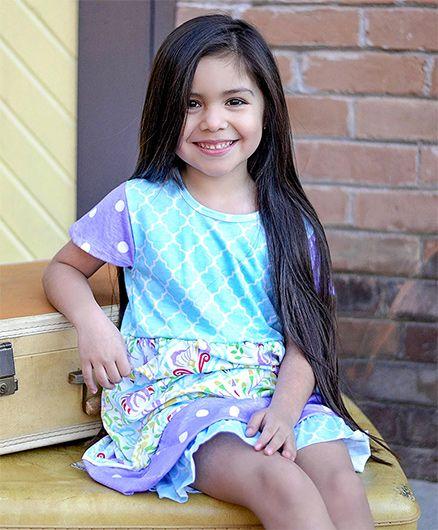 Little Miss Fairytale Quatrefoil Dress And Ruffle Shorts - Blue