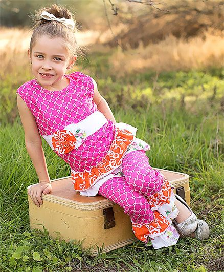Little Miss Fairytale Lattice Top And Ruffle Pants - Pink And Orange