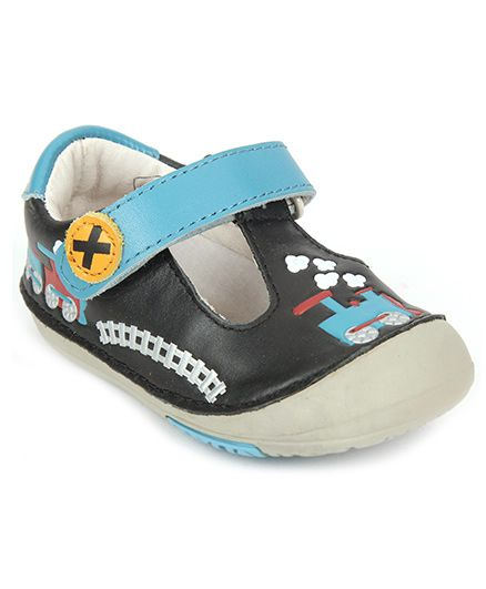 Momo Baby T-Strap Leather Shoes Train Design - Black