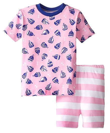 New Jammies Organic Cotton PJ Short Set Sail Away - Pink