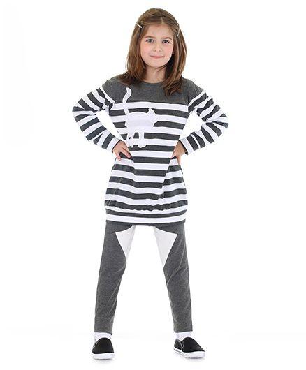 Mikko Kids Stripe Tunic And Leggings Set - Grey And White