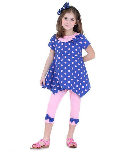 Mikko Kids Polka Dot Tunic And Leggings Set - Blue