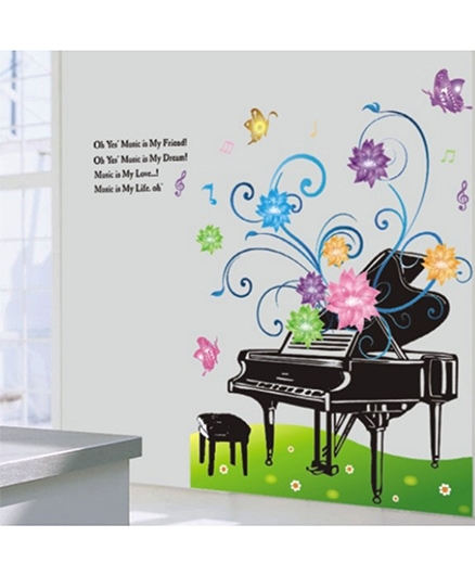 Studio Briana Piano With Flowers And Butterflies Wall Sticker - Multi Color