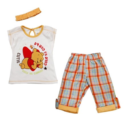 Disney - Winnie The Pooh Top, Capri and Hair Band Set