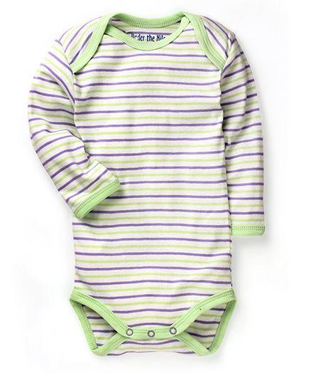 Under The Nile Long Sleeves Babybody Stripe Pattern - Kiwi Lilac