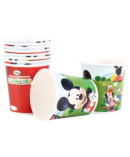Mickey Mouse And Friends Paper Cups Pack Of 10 Multi Color - Each 200 ml