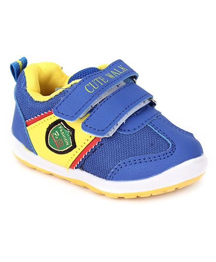 Cute Walk Sports Shoes With Patch - Blue And Yellow