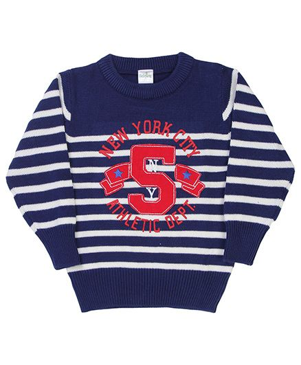 Babyhug Striped Pullover Sweater 5 Patch - Blue