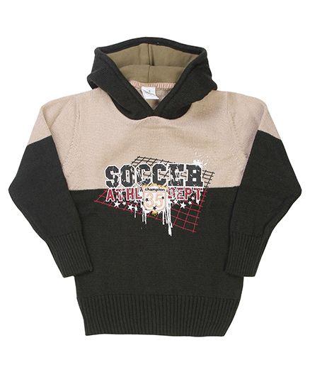 Babyhug Hoodie Sweater Soccer Embroidery - Cream Grey
