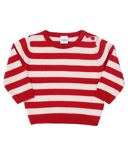 Babyhug Striped Sweater - Red Off White
