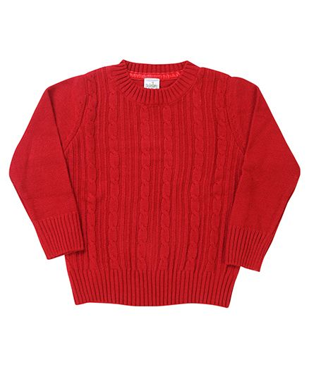 Babyhug Full Sleeves Pullover Sweater - Red