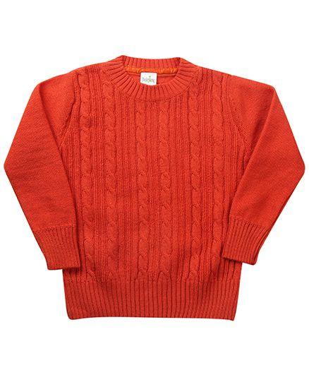 Babyhug Full Sleeves Pullover Sweater - Orange