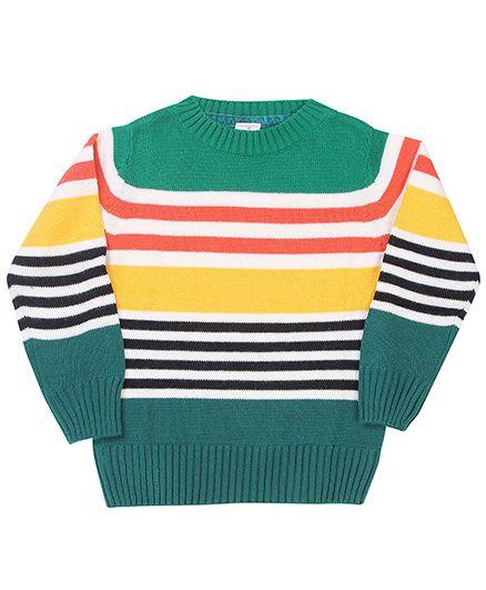 Babyhug Full Sleeves Sweater Multicolour Stripes - Green