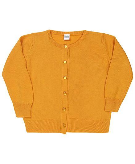 Babyhug Plain Full Sleeves Cardigan - Yellow