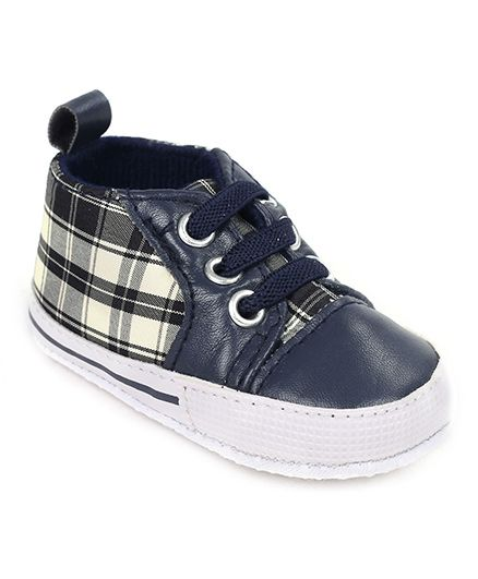 Cute Walk Shoes Style Booties Checks Print - Navy Blue