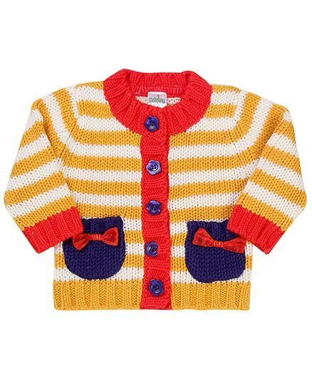 Babyhug Striped Bow Design Sweater - Orange