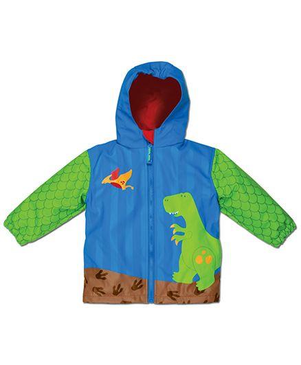 Stephen Joseph Hooded Raincoat Dino - Blue And Green