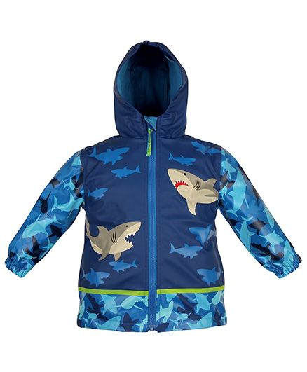 Stephen Joseph Hooded Raincoat Shark Design - Blue