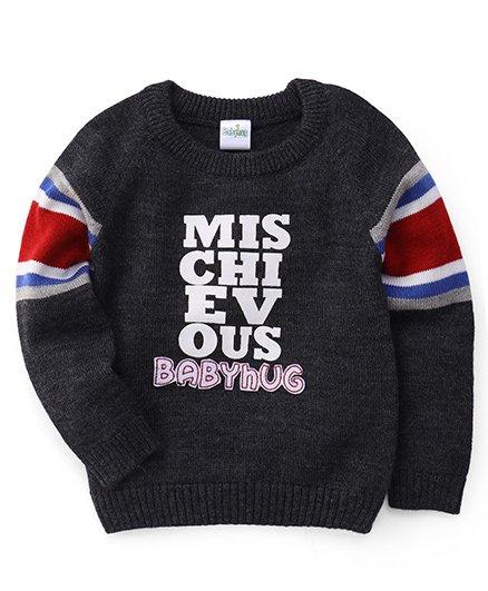 Babyhug Full Sleeves Sweater Mischievous Print - Dark Grey