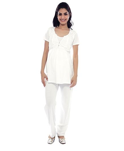 Nine Short Sleeves Nursing Blouse - White