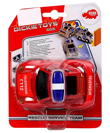 Dickie Freewheel Rescue Service Team Fire Department Toy Car - Red