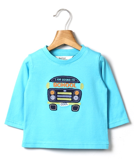 Beebay School Bus Embroidery T-Shirt - Sky Blue
