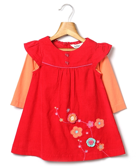 Beebay Crochet Flower Applique Corduroy Dress - Red