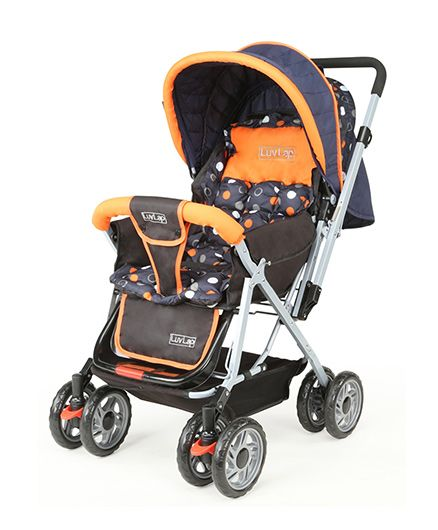 Luv Lap Baby Stroller With Mosquito Net Orange And Black - 18154