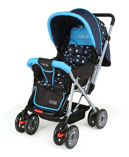 Luv Lap Baby Stroller With Mosquito Net Blue And Black - 18155