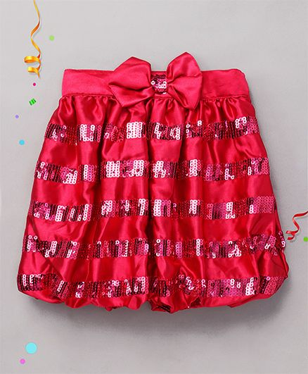 Babyhug Party Wear Skirt Bow Applique - Pink