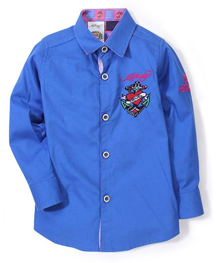 Ed Hardy Full Sleeves Logo Stitched Shirt - Blue